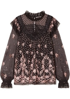 Needle & Thread Eclipse Lace-trimmed Embroidered Tulle Blouse