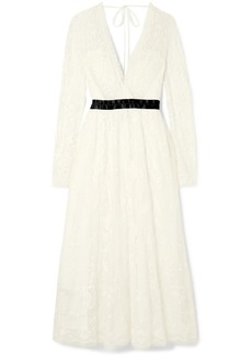 Needle & Thread Eleanor Wrap-effect Satin-trimmed Lace Midi Dress