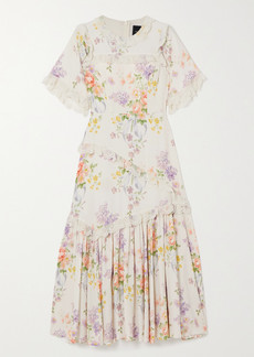 Needle & Thread Elsa Lace-trimmed Floral-print Broderie Anglaise Crepe Dress
