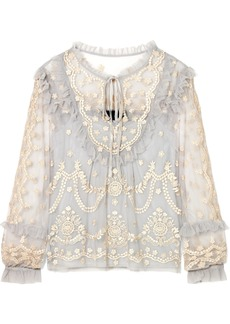 Needle & Thread Flapper ruffled embroidered tulle blouse