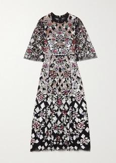 Needle & Thread Harlequin Rose Ballerina Sequin-embellished Tulle Midi Dress