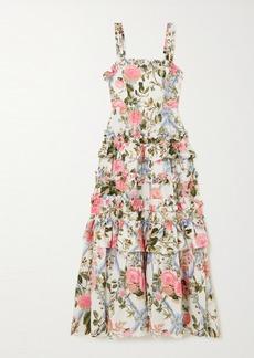 Needle & Thread Hettie Tiered Floral-print Cotton-blend Poplin Midi Dress