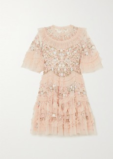 Needle & Thread Lalabelle Ruffled Embroidered Tulle Mini Dress
