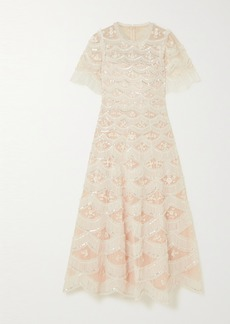 Needle & Thread Lunette Blossom Sequin-embellished Embroidered Tulle Gown