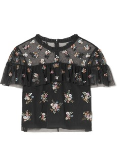 Needle & Thread Lustre Cropped Embellished Tulle Top