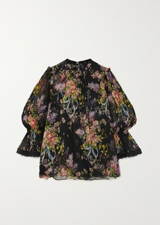 Needle & Thread Metallic Floral-print Fil Coupé Chiffon Blouse