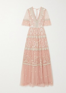 Needle & Thread Midsummer Lace-trimmed Embroidered Tulle Gown