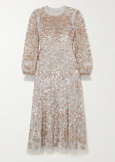 Needle & Thread Mirabelle Ruffled Sequin-embellished Tulle Midi Dress