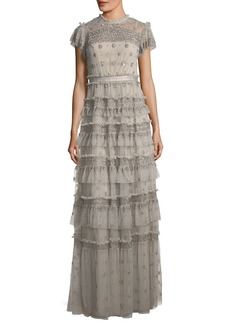 Needle & Thread Andromeda Cap-Sleeve Tiered Embellished Evening Gown