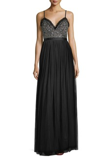 Needle & Thread Andromeda Sweetheart Embellished-Bodice Evening Gown