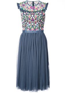 Needle & Thread floral flared dress - Blue