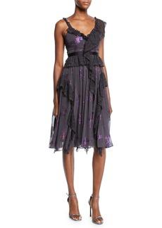 Needle & Thread Interstella Lace Ruffle Embellished Cocktail Dress