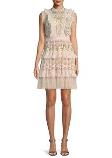 Needle & Thread Lattice Rose Embroidered Frill Mini Dress