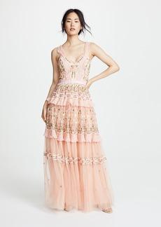 Needle & Thread Lattice Rose Sleeveless Gown
