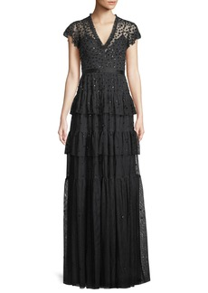 Needle & Thread Mirage Frill Sequin Crepe Gown