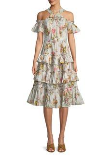 Needle & Thread Rainbow Rose Ruffle Cold-Shoulder Midi Dress