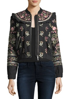 Needle & Thread Whisper Victorian Floral-Embroidered Bomber Jacket