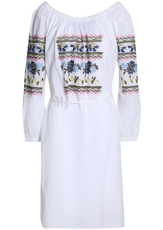 Needle & Thread Woman Belted Embroidered Cotton-voile Dress White