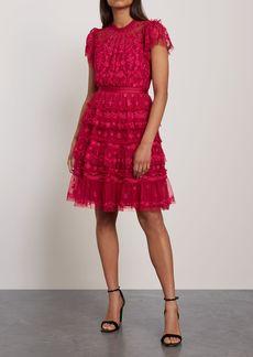 Needle & Thread Woman Darcy Embroidered Tulle Mini Dress Crimson