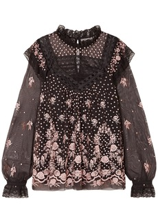 Needle & Thread Woman Eclipse Lace-trimmed Embroidered Tulle Blouse Charcoal