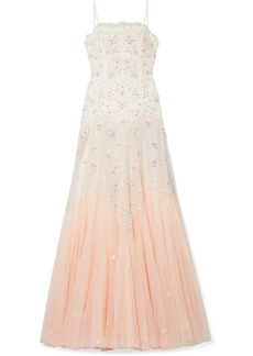 Needle & Thread Pearl Rose Embellished Embroidered Tulle Gown