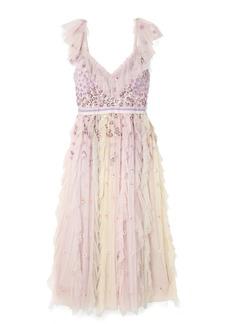 Needle & Thread Rainbow Embellished Ruffled Tulle Midi Dress