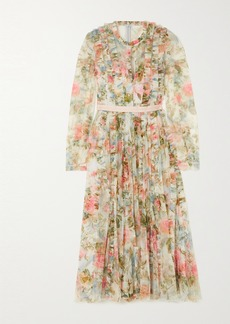 Needle & Thread Rose Garden Pleated Floral-print Tulle Midi Dress
