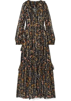 Needle & Thread Ruffled Floral-print Metallic Fil Coupé Chiffon Wrap Gown