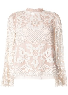 Needle & Thread ruffled neck floral lace blouse
