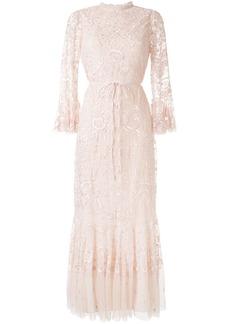 Needle & Thread sheer floral tie waist gown