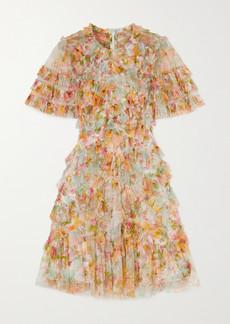 Needle & Thread Sunset Garden Ruffled Floral-print Tulle Mini Dress