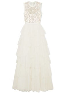 Needle & Thread Tiered Embellished Tulle And Point D'esprit Gown