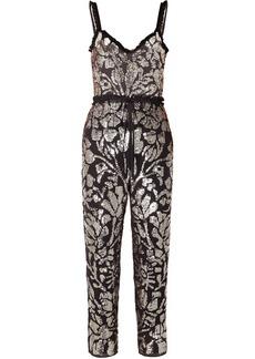 Needle & Thread Tulle-trimmed Sequin-embellished Georgette Jumpsuit