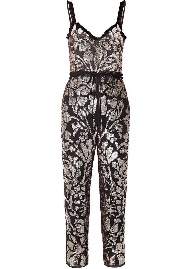 Tulle-trimmed Sequin-embellished Georgette Jumpsuit