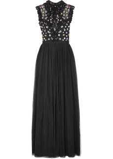Needle & Thread Utopia ruffled lace-trimmed embroidered tulle maxi dress