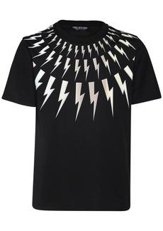 Neil Barrett 3d Bolt Print Cotton Jersey T-shirt