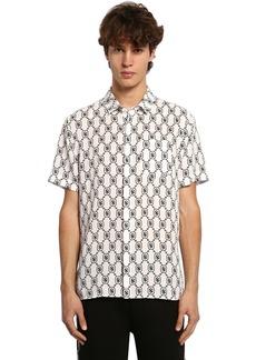 Neil Barrett All Over Logo S/s Lyocell Poplin Shirt