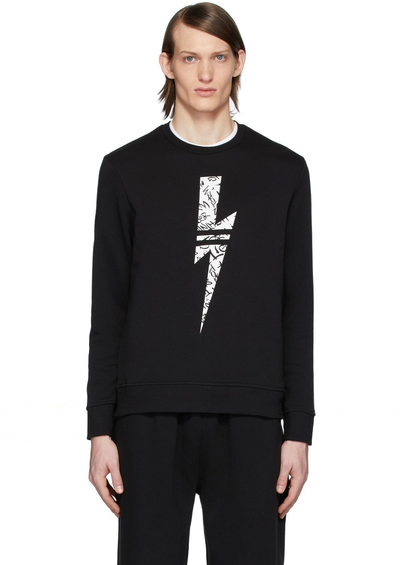 Neil Barrett Black & White Graffiti Thunder Sweatshirt