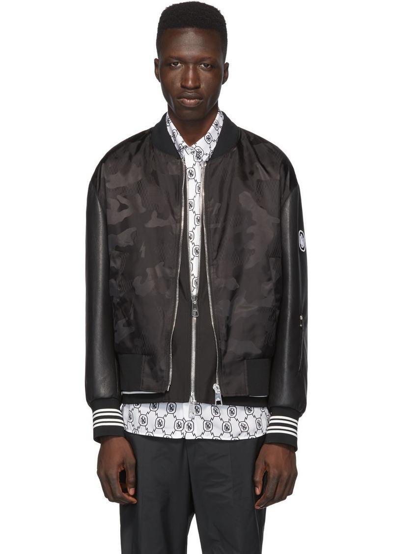 Neil Barrett Black Camo Bolt Vest Lining Bomber Jacket