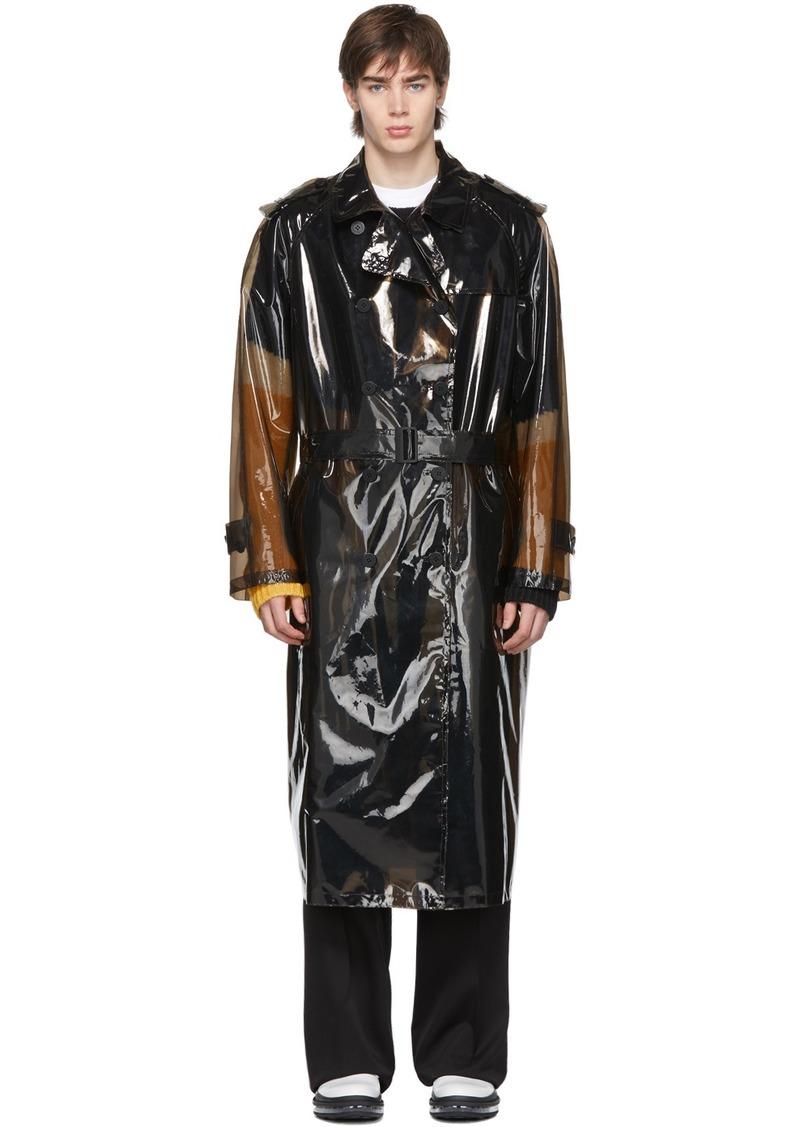 Neil Barrett Black Transparent PVC Trench Coat