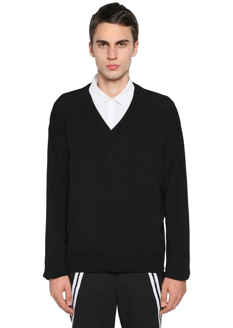 Neil Barrett Boxy Nylon & Viscose Knit Sweater