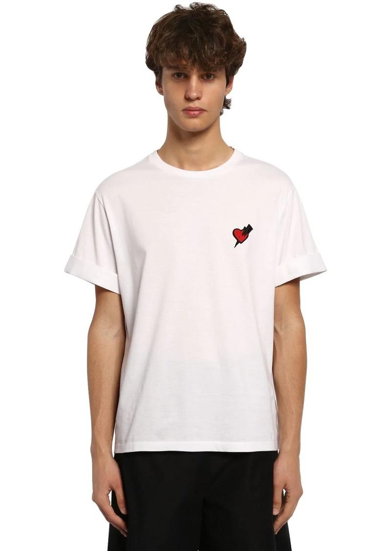 Neil Barrett Cotton T-shirt W/ Heart Patch