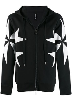 Neil Barrett cross print zip-up hoodie