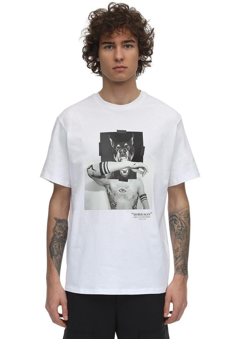 Neil Barrett Doberman Print Cotton Jersey T-shirt