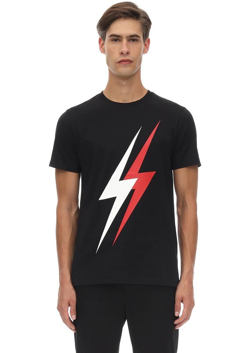 Neil Barrett Double Bolt Print Cotton Jersey T-shirt