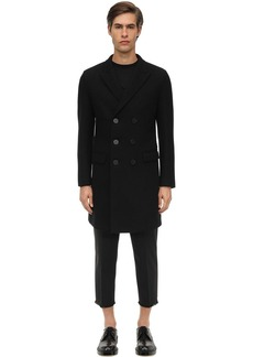 Neil Barrett Double Breasted Wool Blend Felt Coat