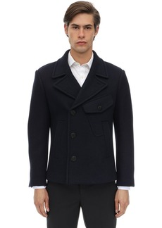 Neil Barrett Double Face Wool Blend Felt Pea Coat