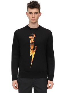 Neil Barrett Flame Bolt Print Viscose Sweatshirt