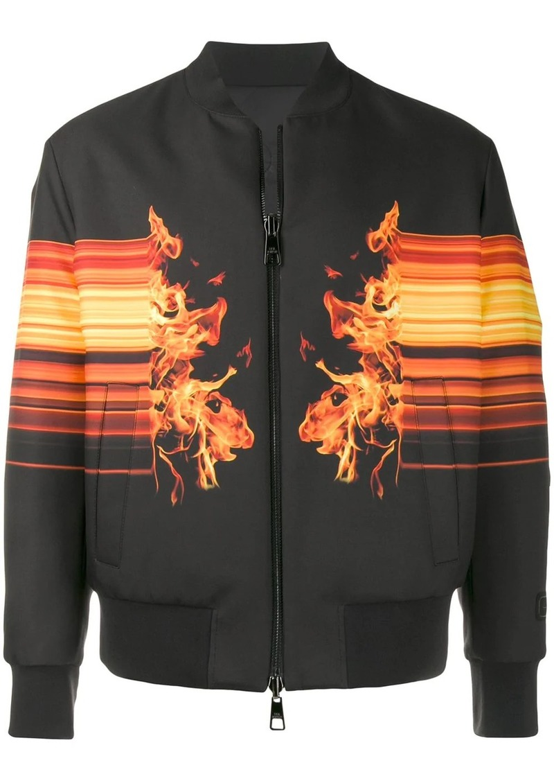 Neil Barrett flame print bomber jacket