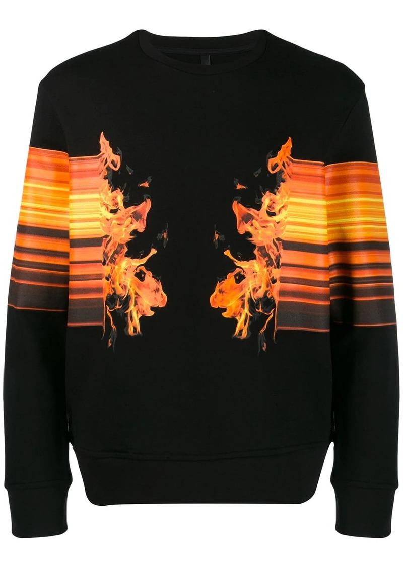 Neil Barrett flame print sweatshirt